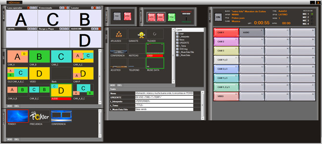 General view of HDVmixer Client. Click to view full size.