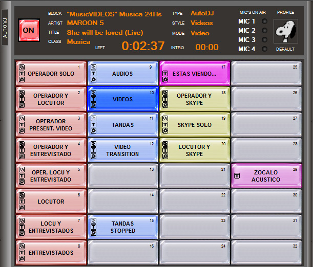 SCENE panel where one-click presets are displayed using multicolored buttons.